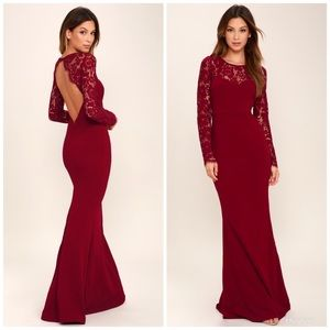 Lulus M Whenever You Call Wine Red Lace Maxi Dress